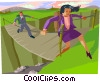 crossing a bridge Vector Clipart image