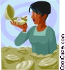 Vector Clipart graphic  of a finding a pearl