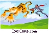 Vector Clip Art image  of a tiger by the tail