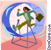 Vector Clip Art image  of a person in a running wheel