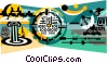 Vector Clipart graphic  of a satellite communications