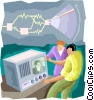 Vector Clipart graphic  of a the invention of television