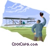 Vector Clip Art image  of a the Wright Brothers at Kitty Hawk