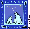 Vector Clip Art graphic  of an Alaska and Polar bears