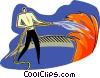 Vector Clip Art graphic  of a putting a fire out