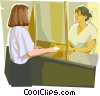 Vector Clip Art graphic  of a Receptionist greeting client