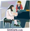 Vector Clip Art image  of a piano lesson