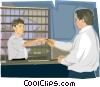 receptionist, transaction being made Vector Clipart illustration