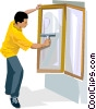 washing windows Vector Clip Art image