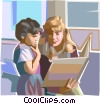 Vector Clip Art image  of a Teacher reading to student