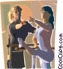 Vector Clipart image  of a ballet lesson