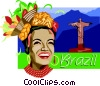 Vector Clip Art image  of a Brazil postcard design