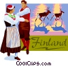 Finland postcard design Vector Clipart illustration