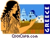 Vector Clip Art image  of a Greece postcard design
