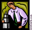 man looking over model building Vector Clipart image