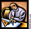 man working with compass, drawing Vector Clip Art image