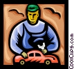 Mechanic with model car Vector Clip Art picture