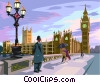 big ben with surrounding buildings Vector Clipart illustration