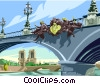 Vector Clipart picture  of a Bridge with sculpture