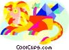 sphinx and pyramids Vector Clipart graphic