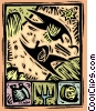 harvesting the crops reaping bounty of the land Vector Clip Art picture