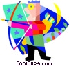 archer, bow & arrow Vector Clip Art image