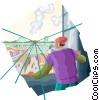 picture of courtyard Vector Clipart graphic