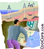 Vector Clip Art picture  of a oil wells being monitored
