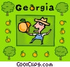 Georgia with farmer eating peach Vector Clip Art picture