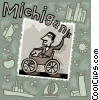 Vector Clipart image  of a Michigan