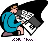Vector Clip Art picture  of a piano lessons
