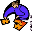 metaphor, putting all the pieces together Vector Clipart picture