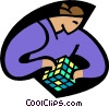 Person solving a mind game Vector Clipart picture