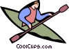 person kayaking Vector Clip Art graphic