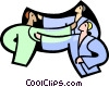 Vector Clipart image  of a practicing martial arts