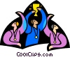 Vector Clip Art image  of a three men winning awards