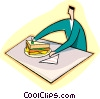 Vector Clip Art graphic  of a having lunch