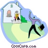Vector Clipart picture  of a Father arriving home