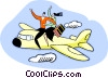 Vector Clip Art picture  of a couple riding on top of