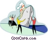 Vector Clipart graphic  of a people directing ship to dock