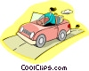 Vector Clip Art image  of a driving in convertible car