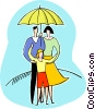 family under umbrella Vector Clip Art image