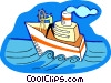ship on the high sea Vector Clipart illustration