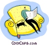 Vector Clipart graphic  of a Relaxing reading the newspaper