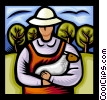 Vector Clip Art graphic  of a farmer holding sheep