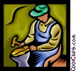 Vector Clip Art image  of a Man repairing shoe