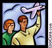 Vector Clipart graphic  of a people holding onto model