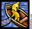 Vector Clipart graphic  of a Fishermen bringing in net