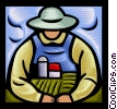 Vector Clip Art image  of a farmer with arms around farm