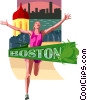 Vector Clip Art graphic  of a Boston marathon